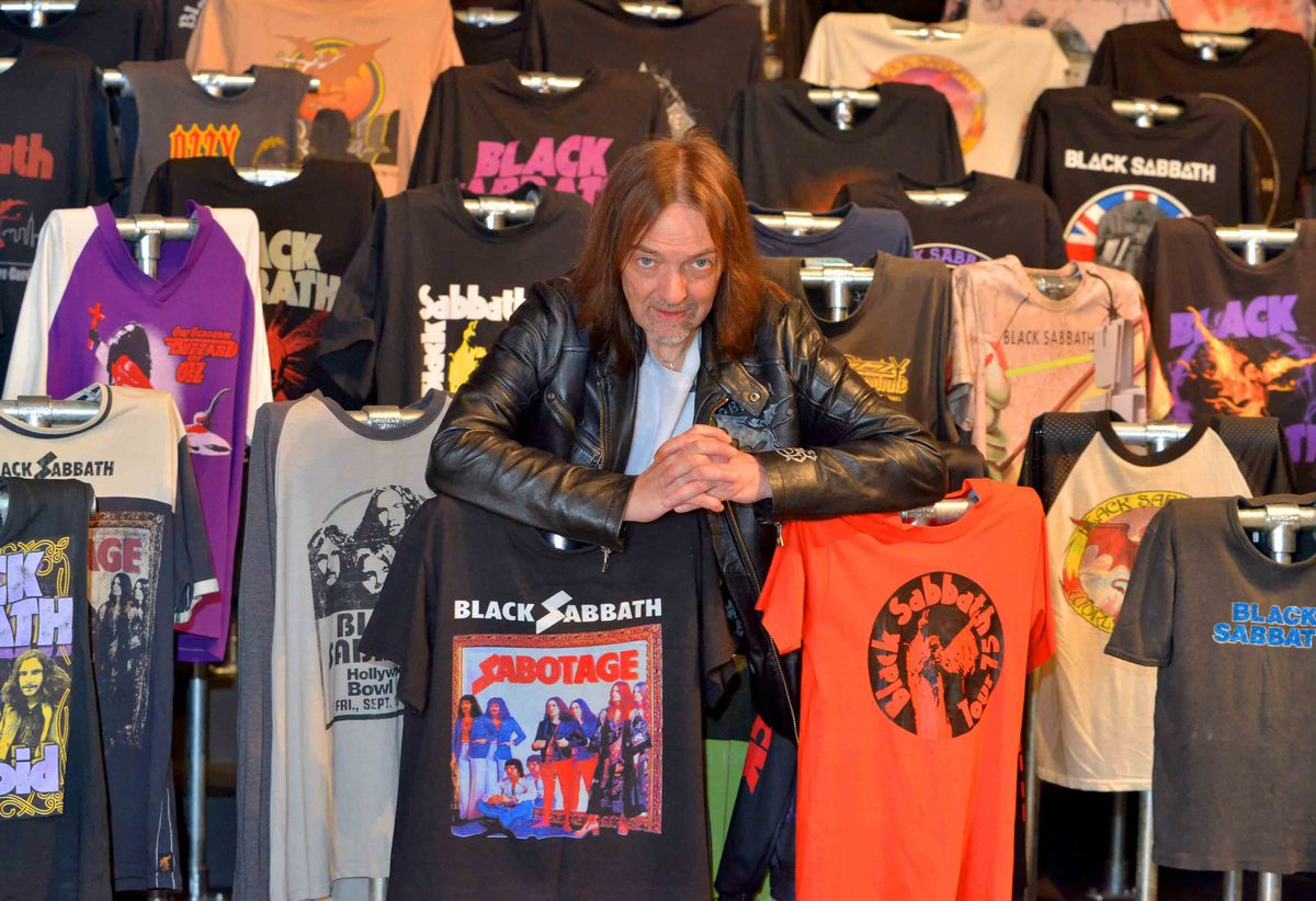 Steve Knowles, from Dudley, with just a small selection of his Black Sabbath shirts