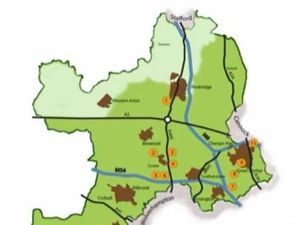 A map of potential new gypsy and traveller pitch allocations in South Staffordshire