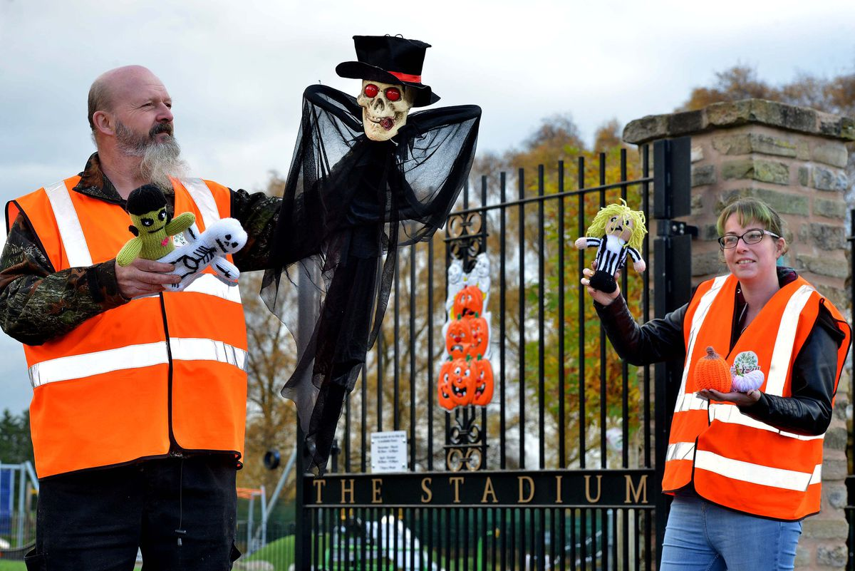 Pic at Cannock Stadium and Friends of the Stadium: Ian Biggs and Emma Thompson. They put a Halloween trail up around the park/stadium area, which was vandalised, but they want to thank the community who rallied together on hearing of the vandalism, and the trail was a success