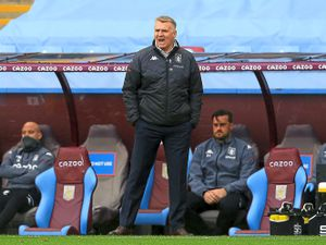 """Aston Villa manager Dean Smith on the touchline during the Premier League match at Villa Park, Birmingham. Picture date: Thursday May 13, 2021. PA Photo. See PA story SOCCER Villa. Photo credit should read: Lindsey Parnaby/PA Wire.RESTRICTIONS: EDITORIAL USE ONLY No use with unauthorised audio, video, data, fixture lists, club/league logos or """"live"""" services. Online in-match use limited to 120 images, no video emulation. No use in betting, games or single club/league/player publications."""