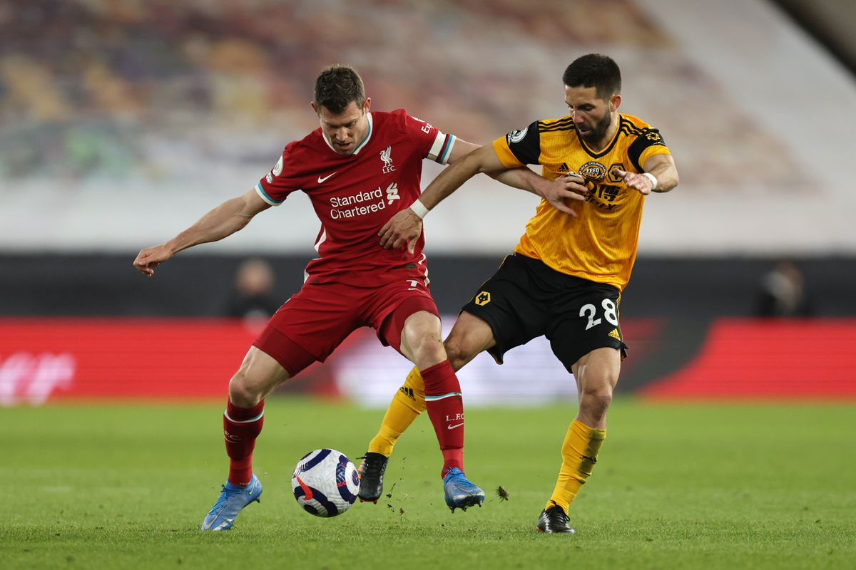 James Milner of Liverpool and Joao Moutinho of Wolverhampton Wanderers (AMA)