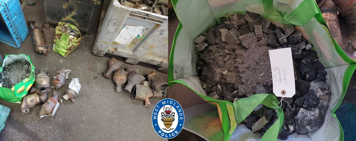 Evidence bags of broken down catalytic converters found by officers in Dudley Photo: WMP