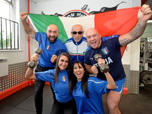 Members of Iron Masters Gym, Bilston, look forward to Sunday's Euro final with Carlo and Santino Sellick, Giulio Gambone, centre, Amy Smith and Michelle Sellick