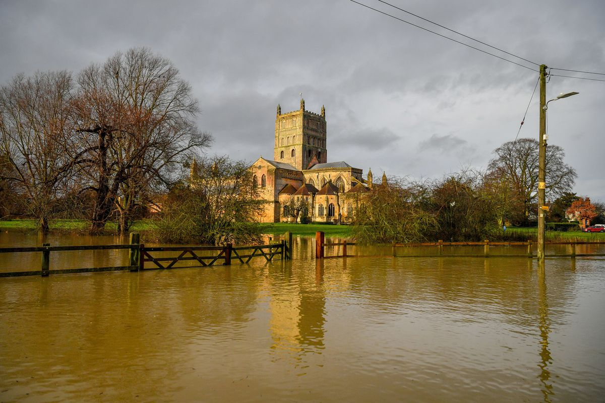 Flood watches are in place at Tewkesbury Abbey