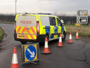 Police cordoned off the A5 near the crash scene. Photo: Newport SNT.