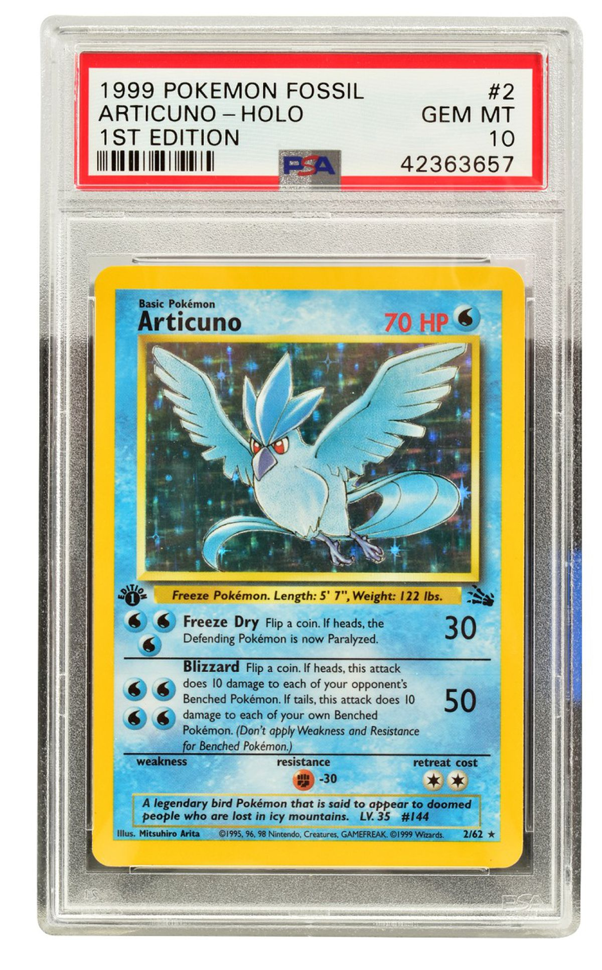 A 1st edition Pokémon Fossil Articuno Holo, PSA Gem Mint 10, estimated to sell for £1,800-£2,000.