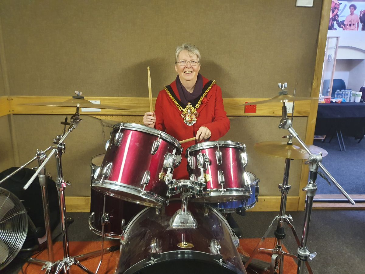 The Mayor of Wolverhampton, Councillor Claire Darke, gets stuck in on the drums during the recent Beatsabar Studios open day at Newhampton Arts Centre