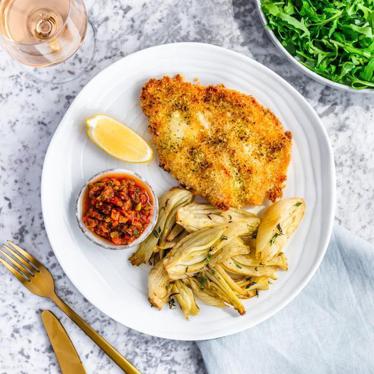 Chicken escalope with fennel and relish