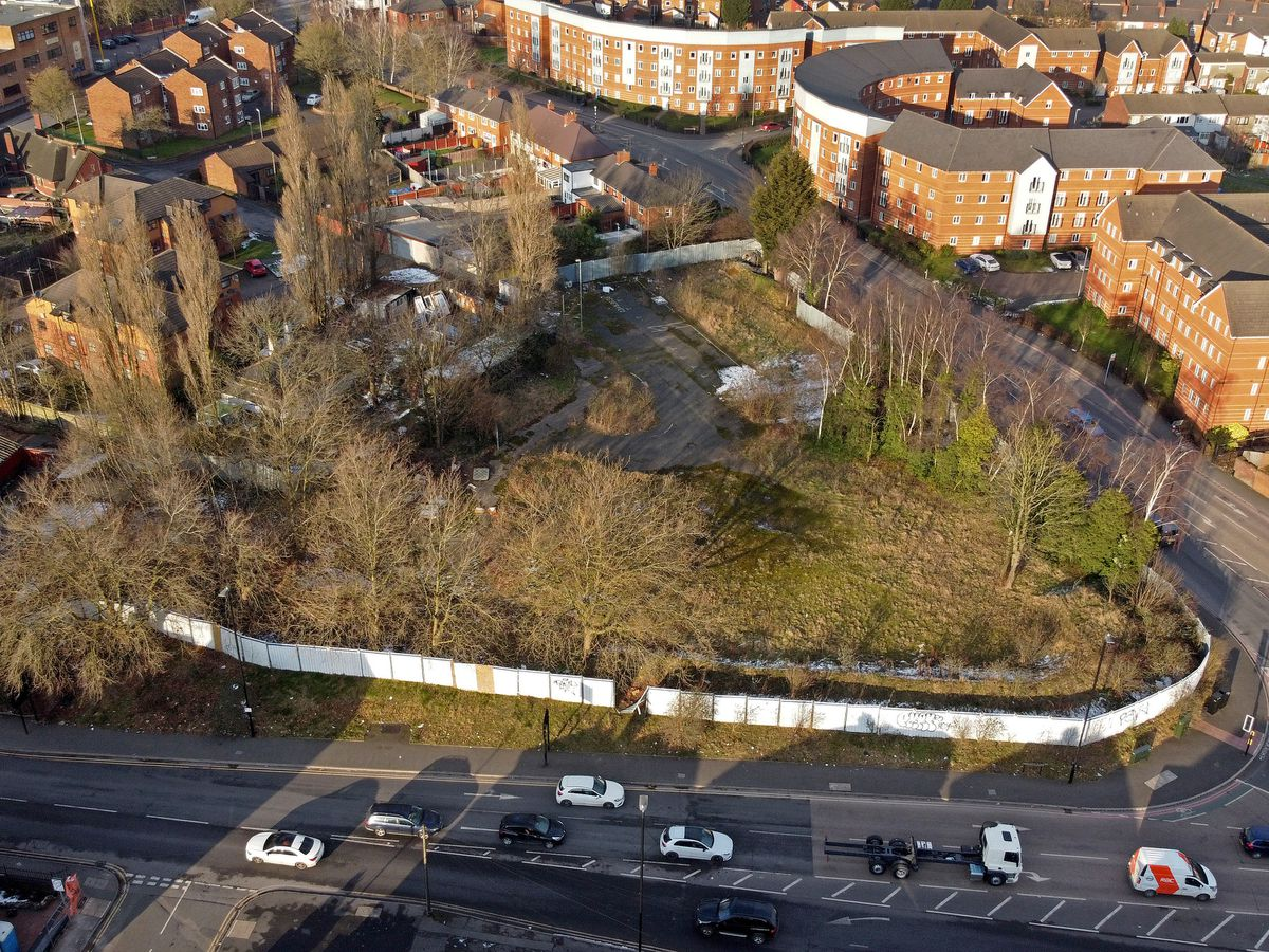 An aerial view of the land where the traveller site is planned