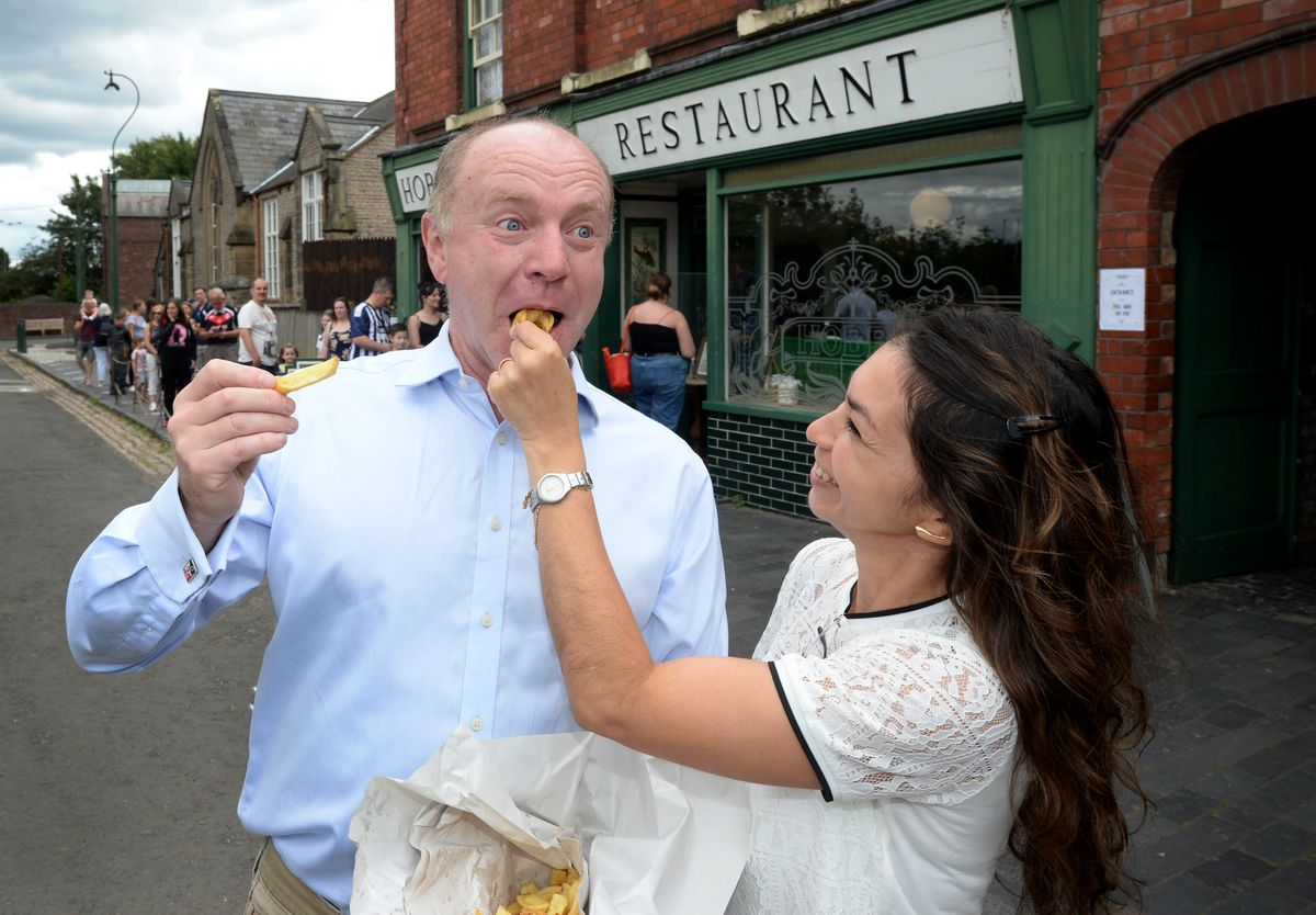 Marco Longhi, MP for Dudley North, and wife Andrea enjoy the chips