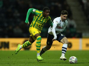 Nathan Ferguson of West Bromwich Albion and Sean Maguire of Preston North End. (AMA)