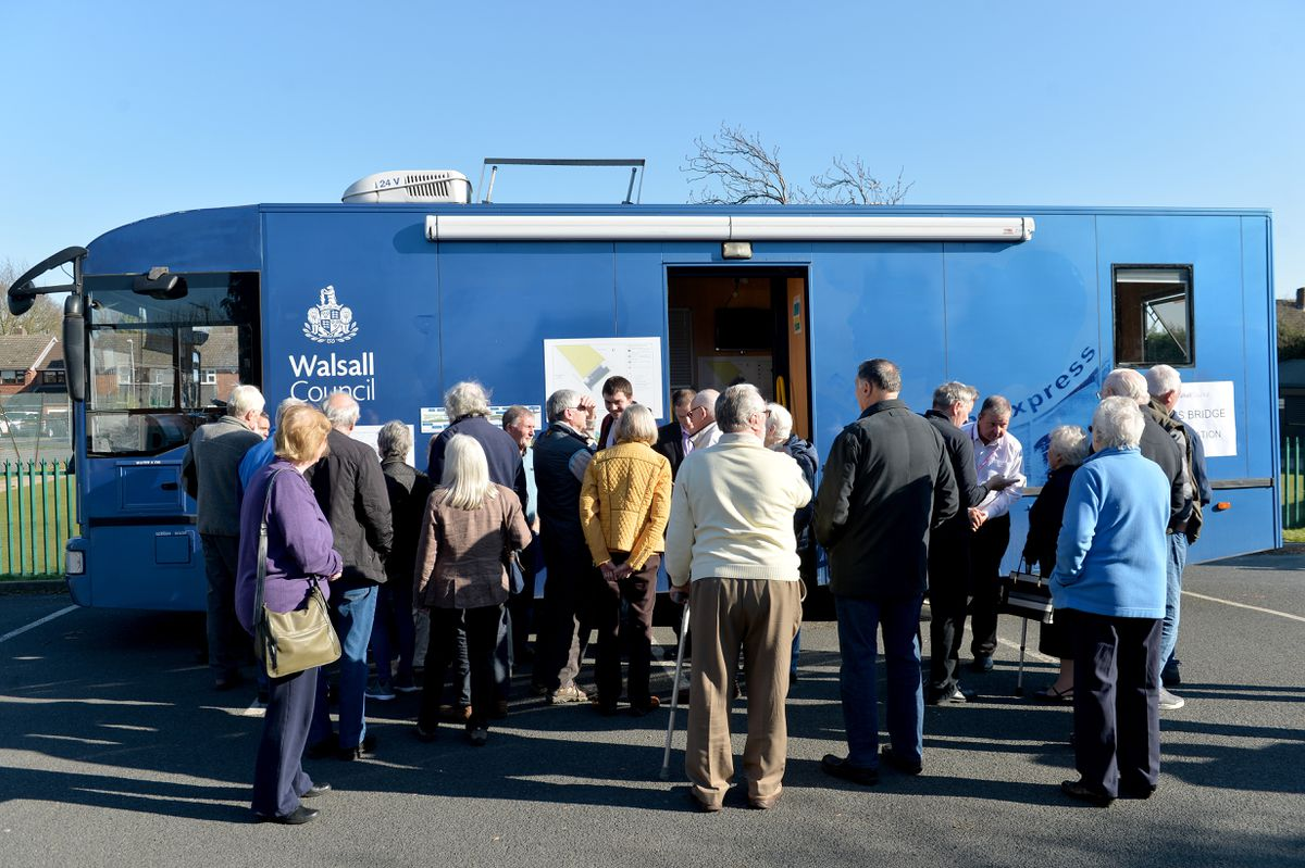 Residents take a look at the plans at the York's Bridge consultation road show event