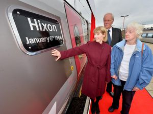 Stafford Train Station, where a name plate was being unveilled on a train to remember the Hixon Rail crash where lives were lost. Left to right: Sue Clowes from Macclesfield, whose late husband John, lost his parents Dennis and Evelyn in the crash, former police officer David Baldwin and Janet Hopkins from Marlowe , who lost her sister Margaret Griffiths
