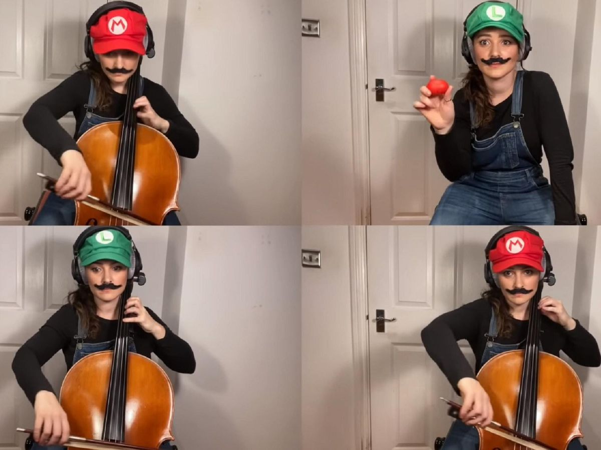 Cellist Samara Ginsberg performs the music from a Super Mario game