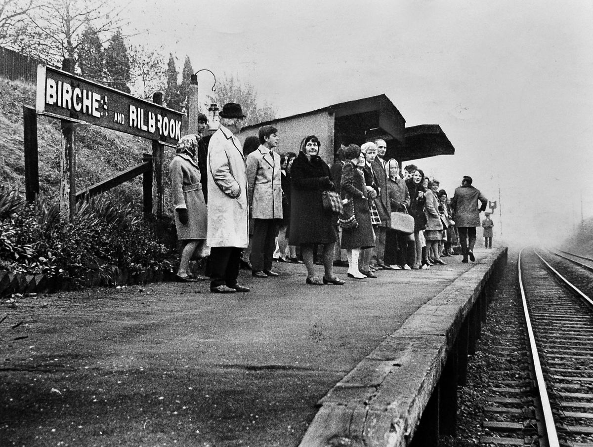 We'd rather go by bus... In 1971 these folk had no alternative to catching the train at Birches & Bilbrook, as there was a bus strike.