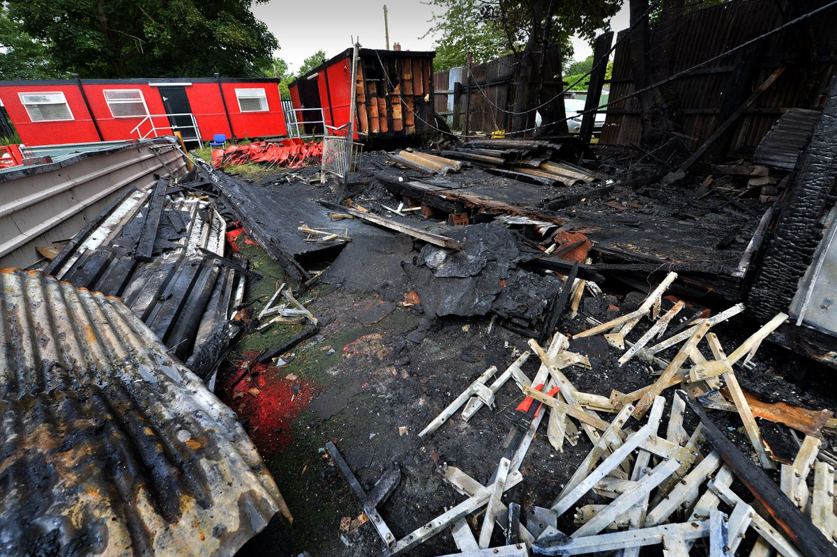 The aftermath of the blaze at Pelsall Villa's ground