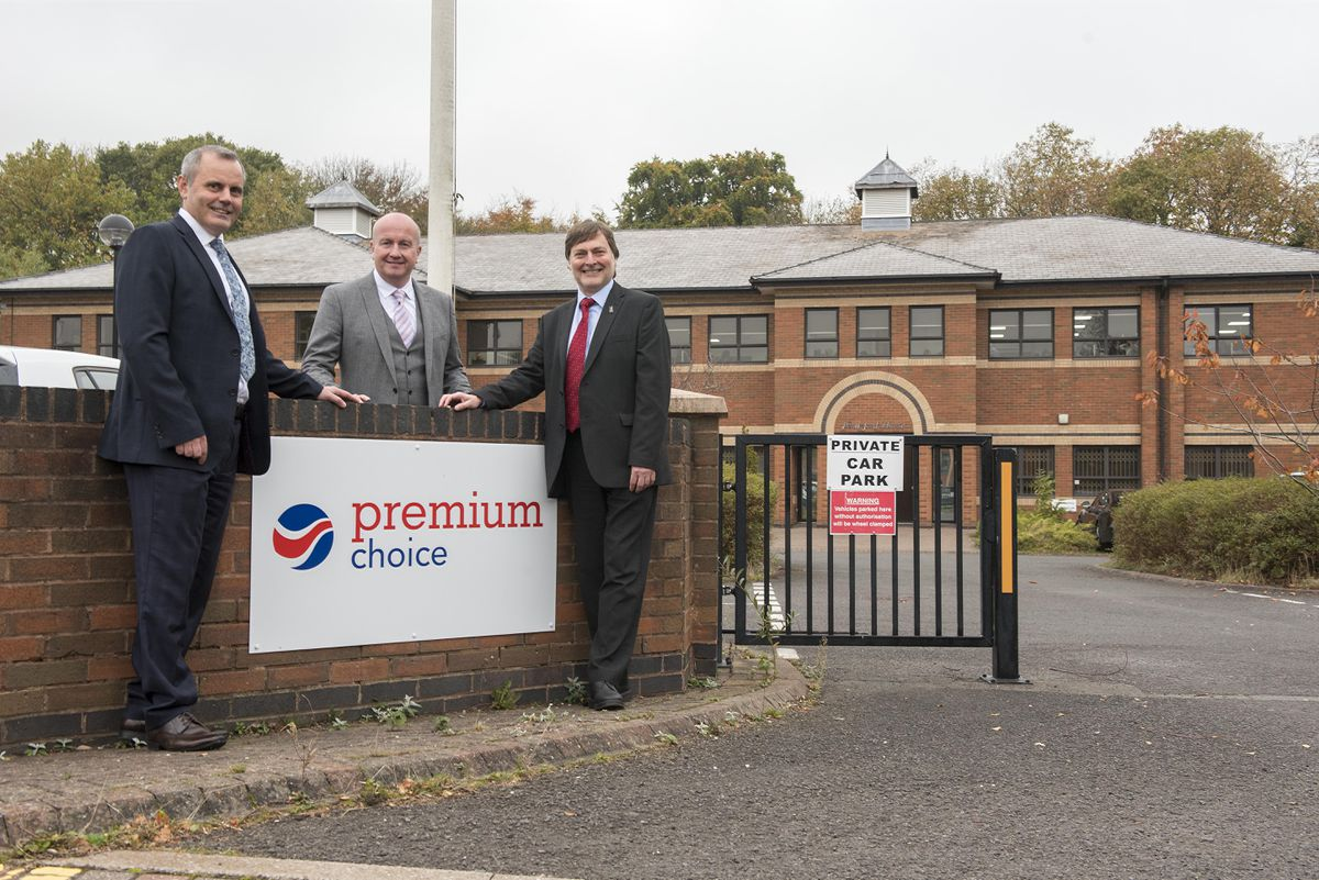 (L-R): Mark Woods, Premium Choice Managing Director (Operations), Richard Dornan, Premium Choice Managing Director (Underwriting and Business Development), and Cllr John Reynolds at Premium Choice's new Pendeford Business Park HQ