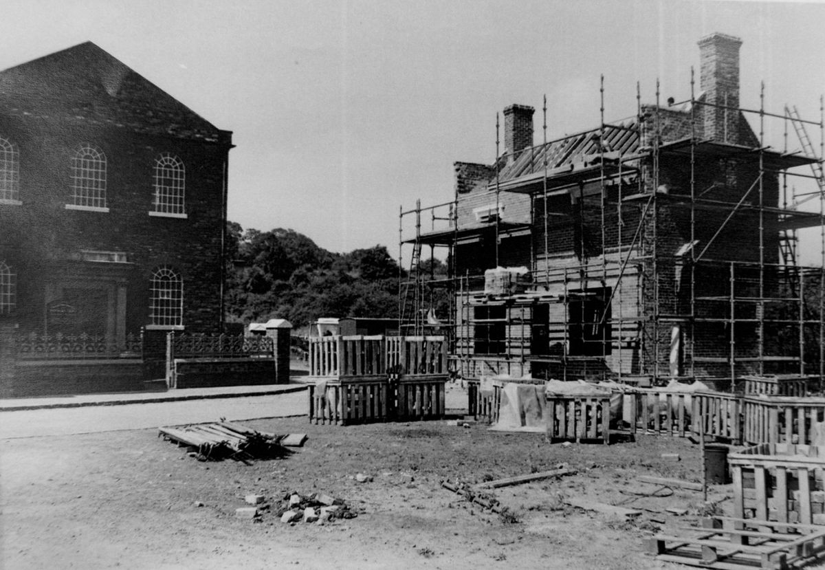 The Bottle and Glass pub as it was being built