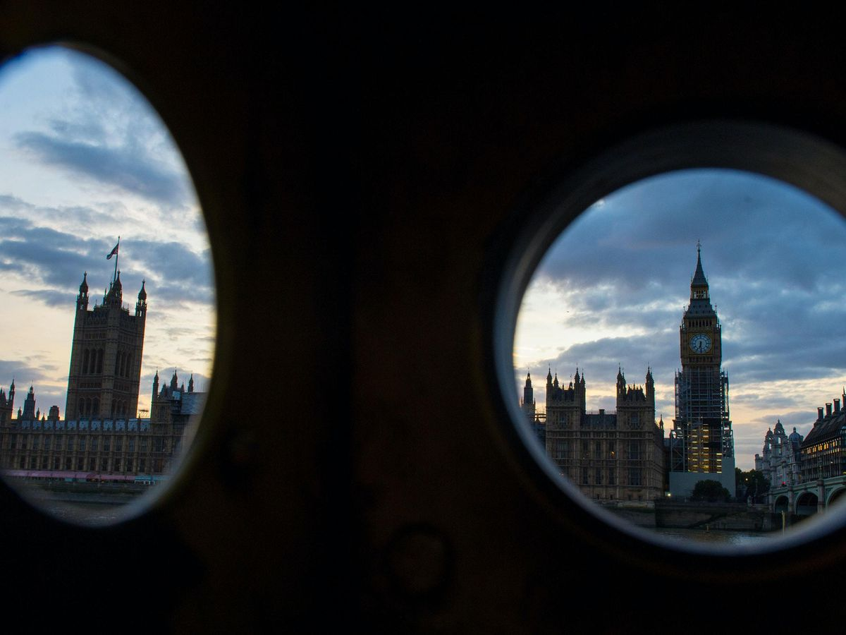 Ongoing restoration works at the Houses of Parliament in Westminster, London