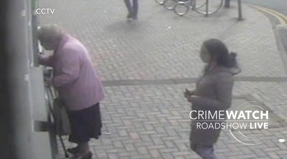 CCTV footage captured Doreen's attacker watching her, before approaching her. Photo: BBC Crimewatch Roadshow