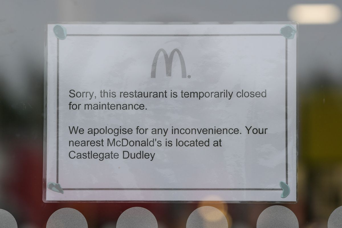 A sign in the McDonald's window. Photo: SnapperSK