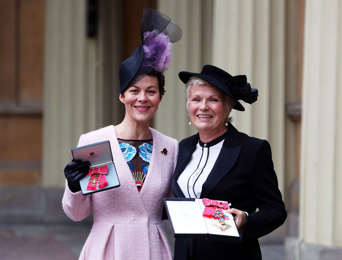 Dame Julie Walters and Helen McCrory after they awarded a Damehood and OBE respectively