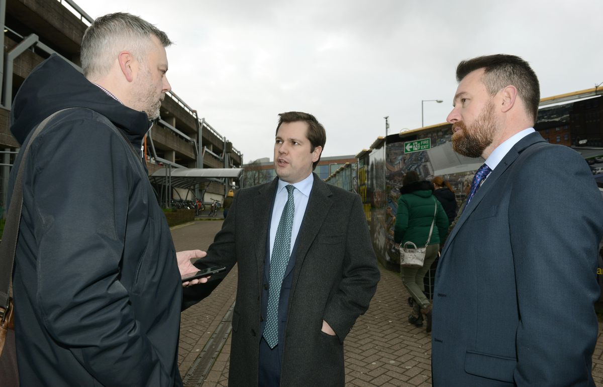Communities Secretary Robert Jenrick (centre) with Stuart Anderson MP (right) at Wolverhampton railway station in January 2020