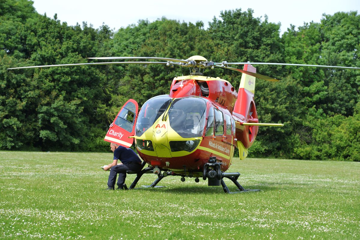 An air ambulance landed nearby