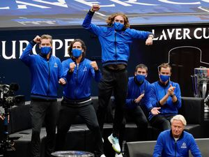 Stefanos Tsitsipas leads the cheers as Casper Ruud gives Team Europe an early lead at the Laver Cup