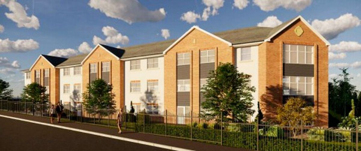 A 3D perspective image of the proposed care home