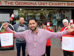 DUDLEY  COPYRIGHT TIM STURGESS EXPRESS AND STAR...... 26/05/2021 Back  Left, Jessie Perkins , Pauline Jenkins,Ros Bratt-Wyton front and Dudley Councillor Shaz Saleem . Jessie and and cllr Saleen are doing a skydive for the The Georgina Unit at Russells Hall Hospital on June 19....