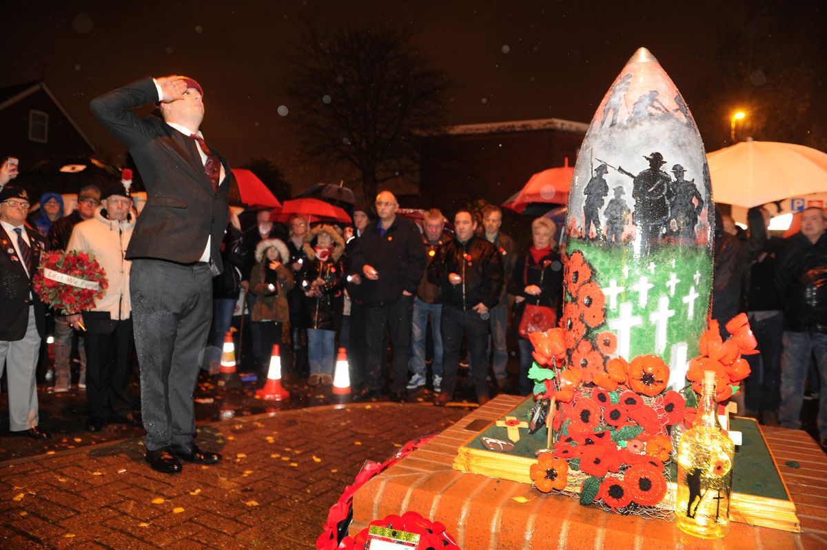 Former paratrooper Stuart Clift, of Shell Corner, pays his respects during the Remembrance event at Shell Corner, Halesowen
