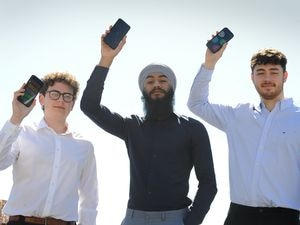 STAFFS PIC / DAVID HAMILTON PIC / EXPRESS AND STAR PIC 23/4/21 With the app they have produced, Numero AR Limited director (left-right) Thomas Faulkner, Gursharan Singh, and Edward Farwell..