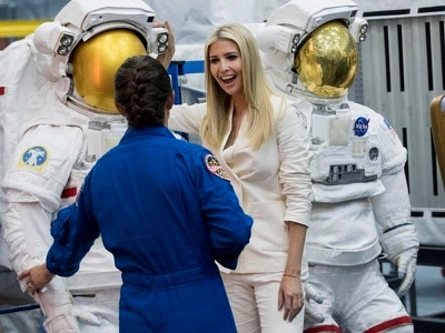 Ivanka Trump calls space crew on tour of Nasa centre