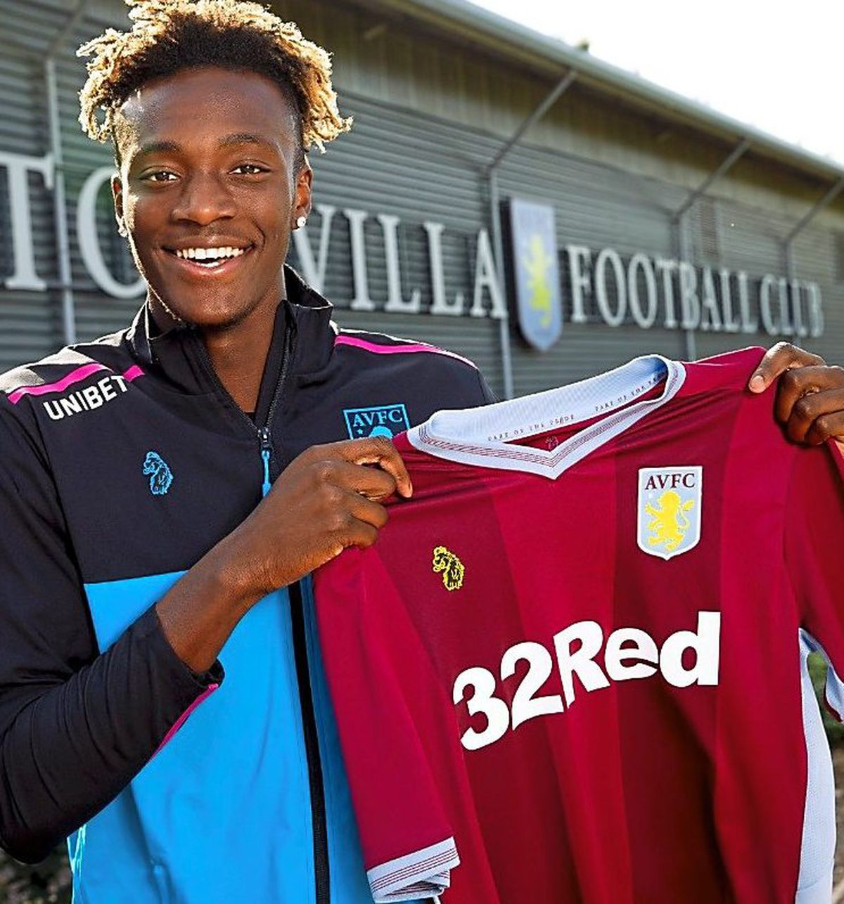 All smiles: Tammy Abraham joined Villa ahead of the EFL loan deadline yesterday afternoon