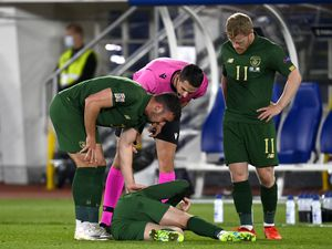 Republic of Ireland's Aaron Connolly reacts on the floor