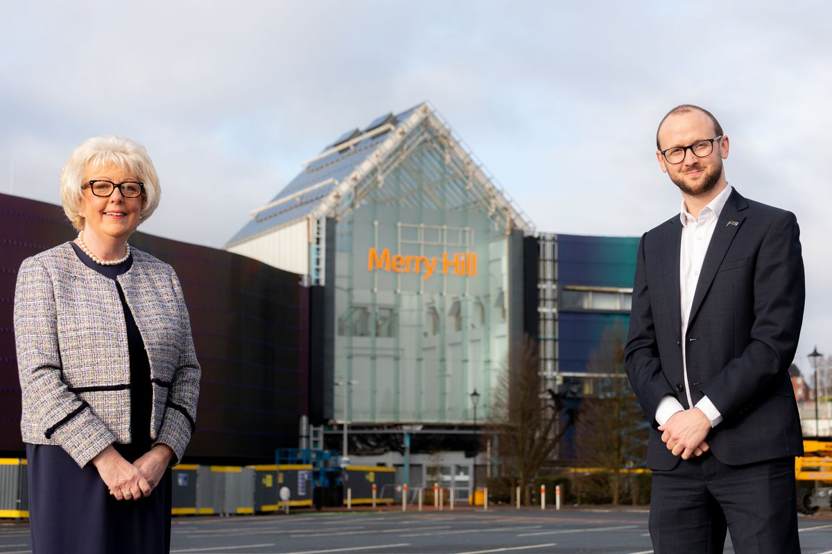 Gail Arnold, of the the Black Country Chamber of Commerce, with Duncan Burns, Marketing Manager of Merry Hill Shopping Centre