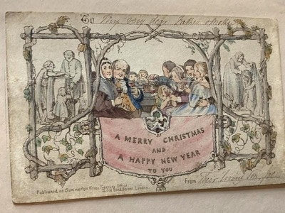 World's first printed Christmas card revealed in Charles Dickens exhibition