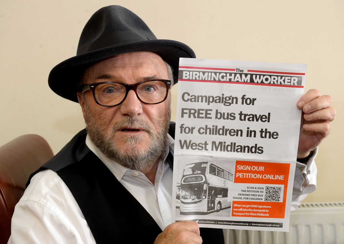 Parliamentary candidate George Galloway is backing a campaign for free bus travel for under-18s