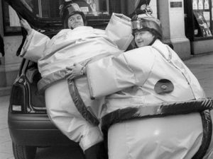 Sumo duo Steve Mantle, left, and Paul James help to launch the Grand's 1994 centenary fundraising drive