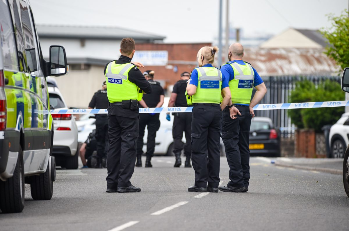 Police at the scene in Vicarage Road. Photo: SnapperSK