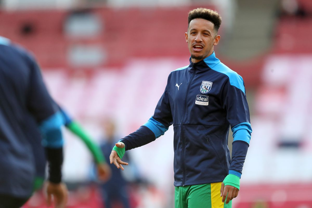 Callum Robinson of West Bromwich Albion during the pre-match warm up.