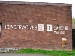 This graffiti mocking Theresa May has appeared in Wolverhampton