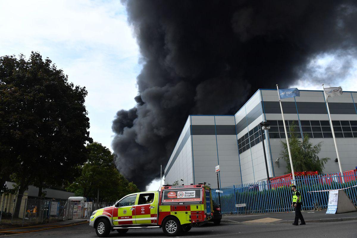 Smoke at the scene of the blaze