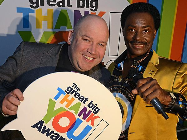 Great Big Thank You Awards compere Dicky Dodd with Britain's Got Talent star and special guest Donchez Dacres