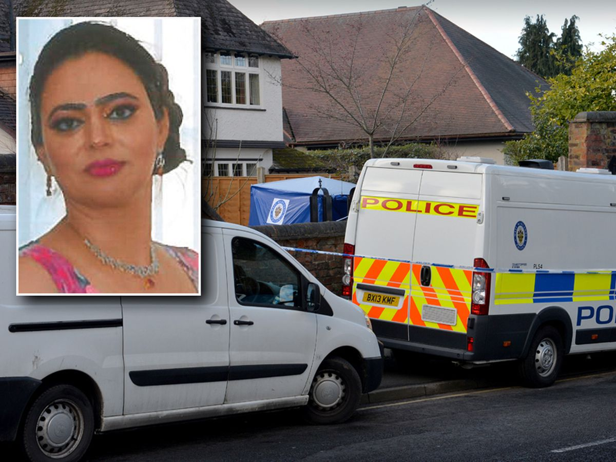 Sarbjit Kaur, inset, was found dead at her family home in Wolverhampton, pictured