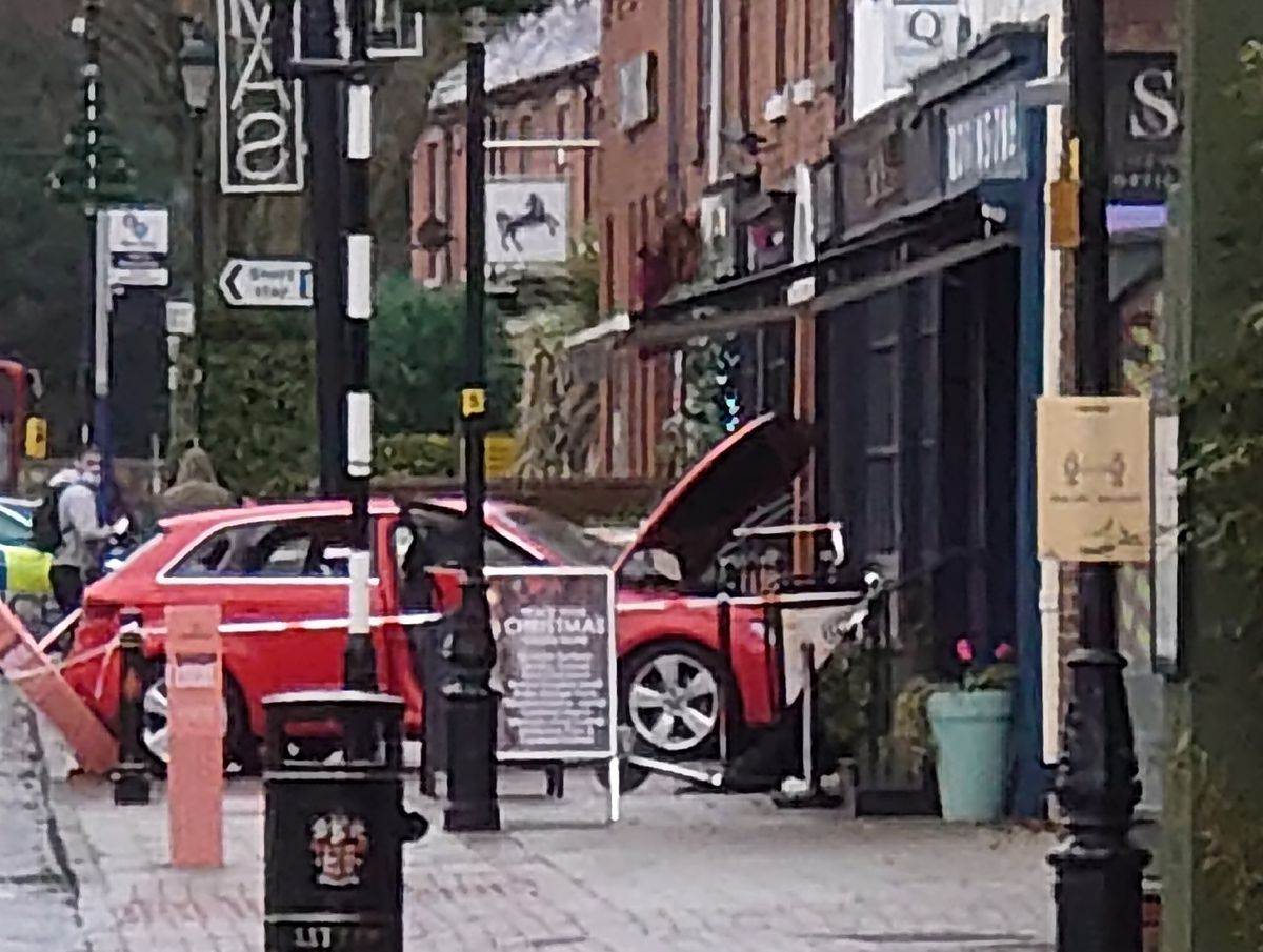 The car crashed into the front of a shop in Tettenhall High Street
