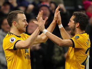 Diogo Jota of Wolverhampton Wanderers celebrates after scoring a goal to make it 3-0. (AMA/Sam Bagnall)