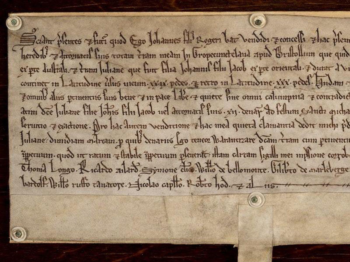 The deed is written in ancient script