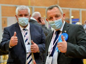 Patrick Harley (left) with newly elected Lye councillor Dave Borley at the count in Stourbridge last week
